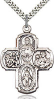"4-Way Sterling Silver Cross 1 3/8 x 1"" Inches - St. Mary's Gift Store"