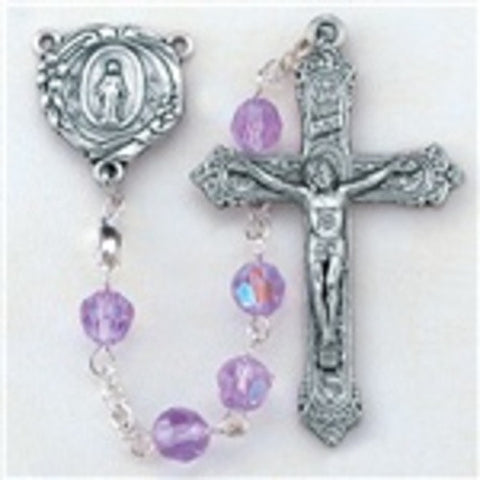 6 mm Alexandrite Tin Cut Multi-Faceted Crystal Bead Aurora Borealis and Deluxe Oxidized Crucifix and Center.