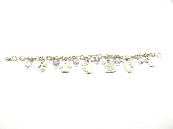 Silver Plated Angel Bracelet with Light Blue Beads, 7 inches
