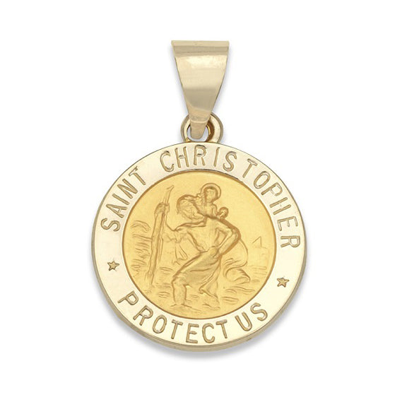14KT Yellow Gold St. Christopher Medal-Round, 5/8 inch