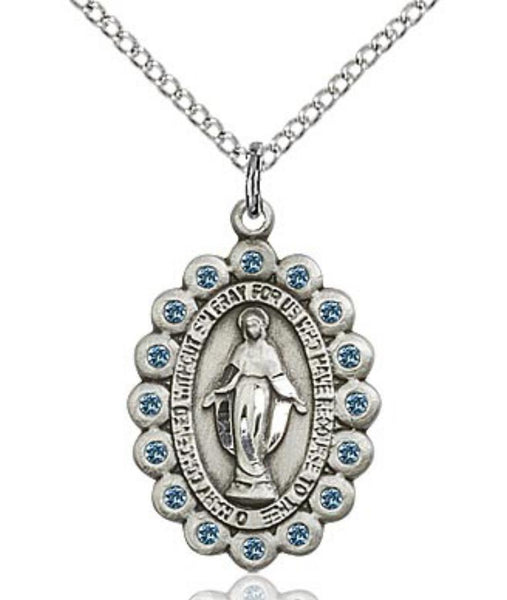 Miraculous Medal with Blue Stones - Oval - St. Mary's Gift Store