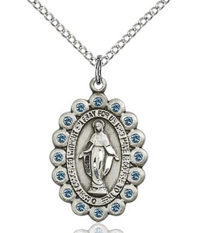 Miraculous Medal with Blue Stones - Oval
