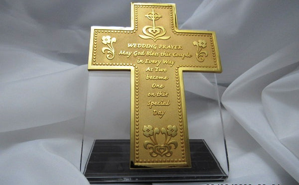 Gold Plated Wedding Wall Cross- Pewter