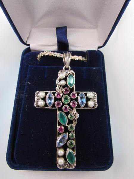 Gemstone Sterling Silver Cross with 20 inch Sterling Silver Chain