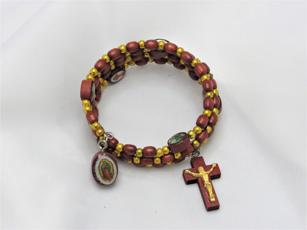 Wrap-around Wooden Rosary Bracelet - Our Lady of Guadalupe