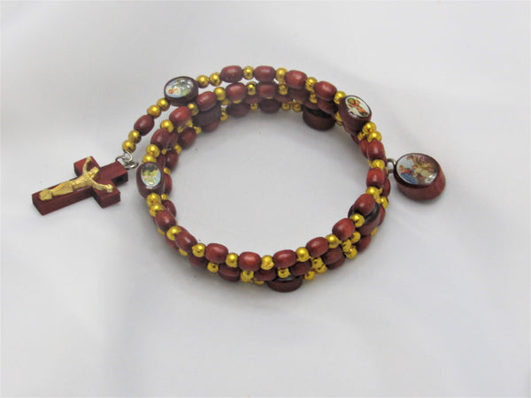 Holy Family- Wraparound Wooden Rosary Braclet