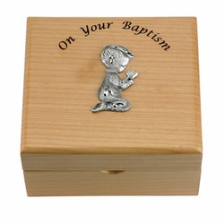 Baby Boy Maple Wood Keepsake Baptism Box 4 3/4 inches