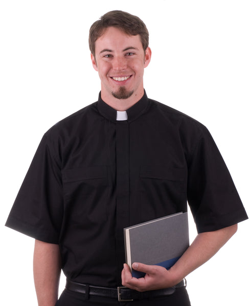 Black Clergy Short Sleeve Shirt - St. Mary's Gift Store