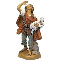 5 inch Fontanini Figurine, Micah the Shepherd Carrying a Sheep.