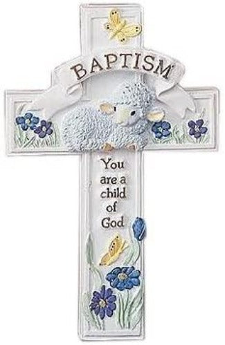"""You Are A Child of God"" Baptism Porcelain Cross, 8.5 inches"