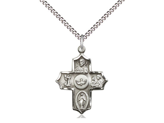 Sterling Silver Holy Spirit 5-Way Cross - St. Mary's Gift Store