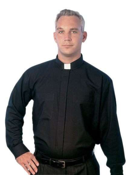 Black Long Sleeve Clergy Shirt - St. Mary's Gift Store