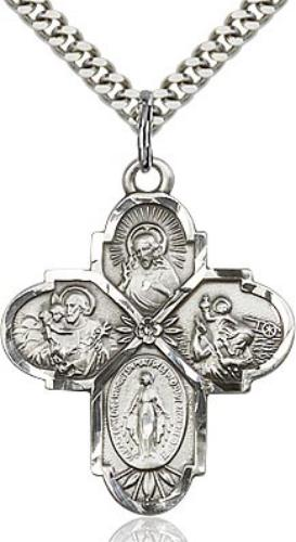 Sterling Silver 4-Way Cross 1 1/4 x 1 - St. Mary's Gift Store