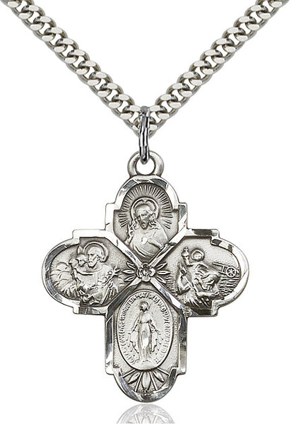 Sterling Silver 4-Way Cross - St. Mary's Gift Store