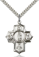 Sterling Silver Guadalupe 5-Way Cross - St. Mary's Gift Store
