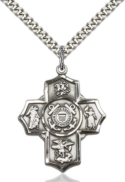 Sterling Silver 5-Way Coast Guard Pendant - St. Mary's Gift Store