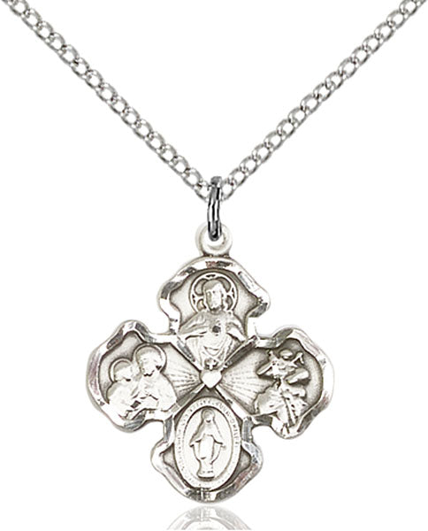 4-Way Sterling Silver Medal 1 1/4 x 1 Inch - St. Mary's Gift Store