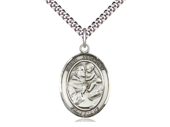 St. Anthony of Padua Sterling Silver Medal on Rhodium Plated 24 inch Chain, 1 inch