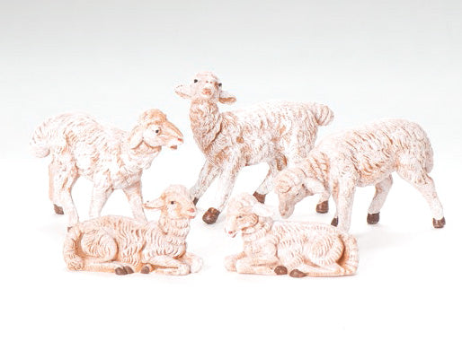 5 White Sheep Figurine Set for Fontanini 5 inch Scale Nativity
