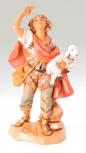 Micah the Shepherd Carrying a Sheep, Fontanini Handmade, 5 inches