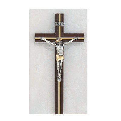 "10"" Cherry Crucifix with Gold Inlay - St. Mary's Gift Store"