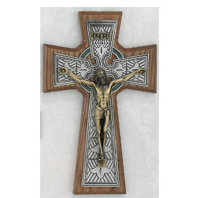 Walnut Celtic Crucifix - 8 inch - St. Mary's Gift Store