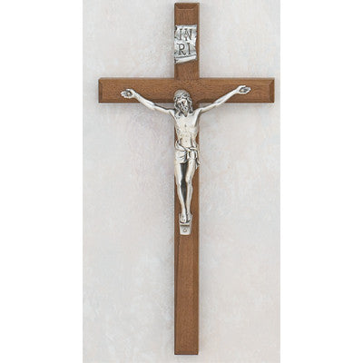 Beveled Walnut Crucifix - St. Mary's Gift Store