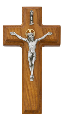 9 1/2 inch Two Tone Walnut Sick Call Crucifix, Made in the USA
