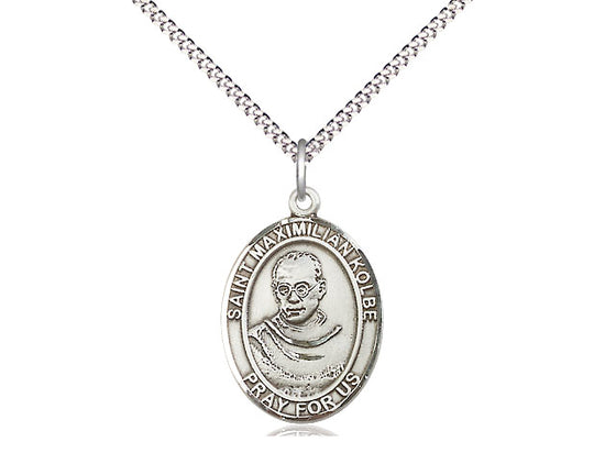 St. Maximilian Kolbe Sterling Silver Necklace with 18 inch Chain, 3/4 inch