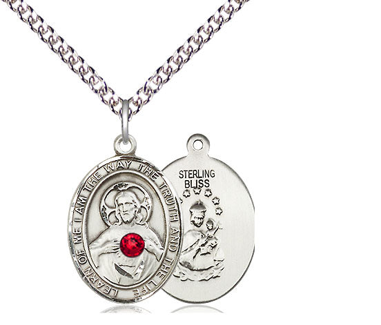 Sterling Silver Scapular Medal with Ruby Swarovski Stone on 24 inch Chain, 1 inch