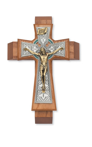 "11"" Walnut Celtic Sick Call Crucifix - St. Mary's Gift Store"