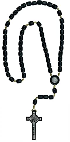 St. Benedict Black Wood  Rosary 8x10mm. 19 inches