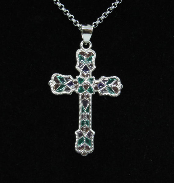 Sterling Silver Cross with Stained Glass Pattern. 1. inches