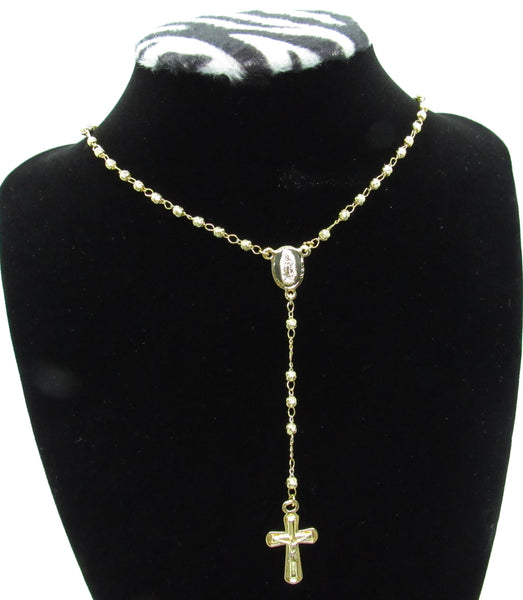 Our Lady of Guadalupe 4mm Gold Plated Stainless Steel Rosary Necklace