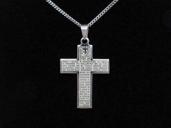 Our Father Stainless Steel Cross, 1 3/4 inch