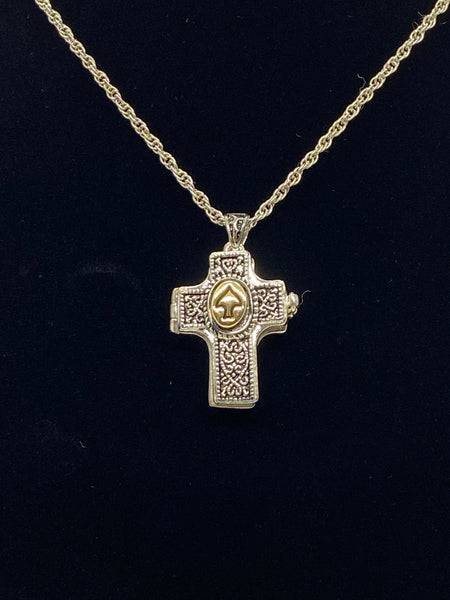 Holy Spirit Cross Shaped Locket with Message Scroll