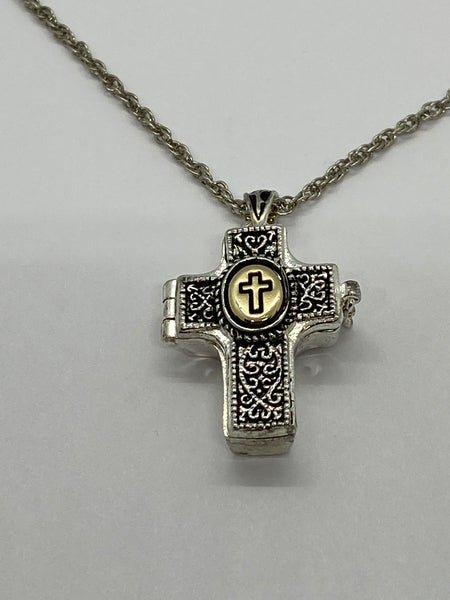 The Lord's Prayer Cross Shaped Locket with Message Scroll