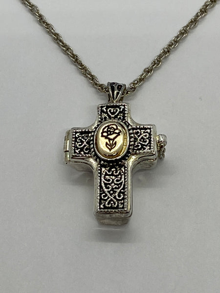 Healing Prayer Cross Shaped Locket with Message Scroll