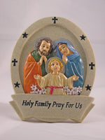 """Holy Family"" Resin High relief Plaque, 5 inches"