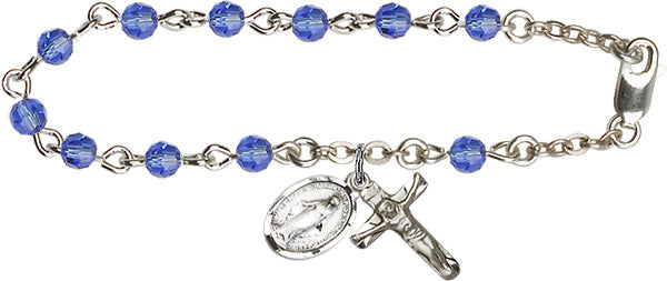 Adult Silver Plated Sapphire Rosary Bracelet - 7 1/4 inches