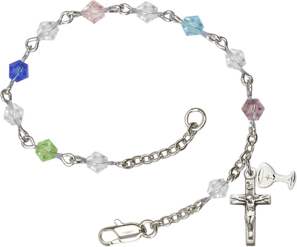 First Communion Multi-Color Rundell Beads Rosary Bracelet