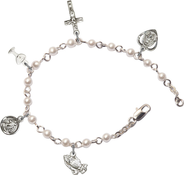 1st Communion Rosary Bracelet - Faux Pearls - St. Mary's Gift Store