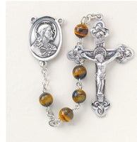 Genuine Tiger Eye Sterling Silver  Center and Crucifix Rosary -1 3/4 inch