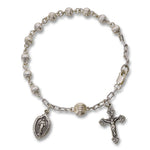 4mm Sterling Silver Rosary Bracelet, 7 inches