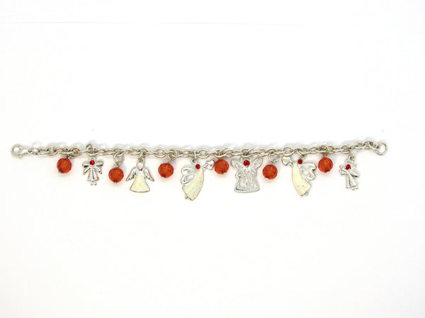 Silver Plated Angel Bracelet with Red Accent Beads