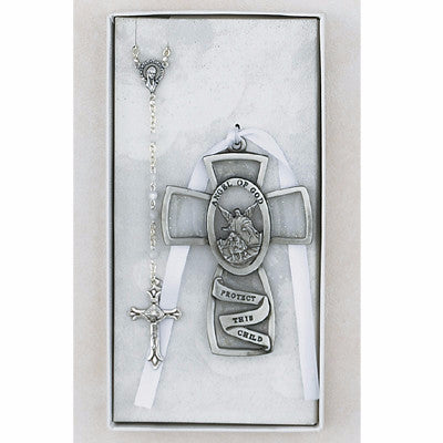 Baby Cross and Rosary  Set - White - St. Mary's Gift Store