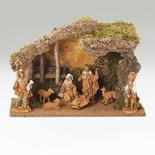 8 Piece Fontanini 5 inch Nativity Set with Stable. Made in Italy
