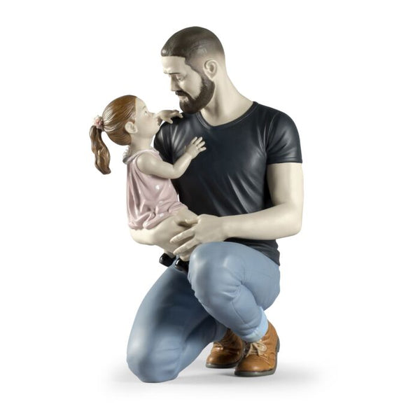 In Daddy's Arms Figurine by Lladro, 13.78 inches