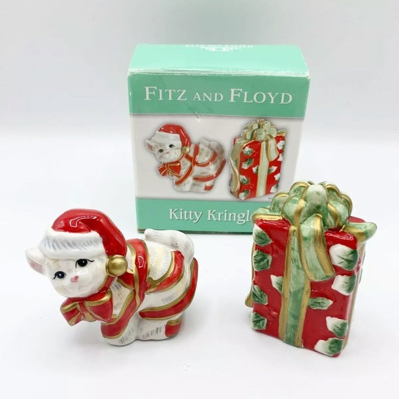 Fitz and Floyd Kitty Kringler Salt and Pepper Shaker