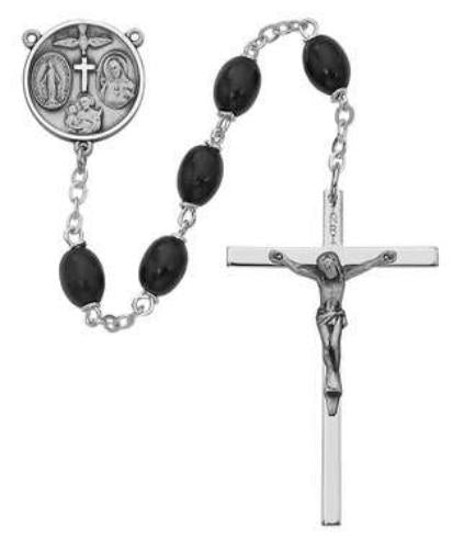 Oval Shaped Black Wood Rosary - St. Mary's Gift Store